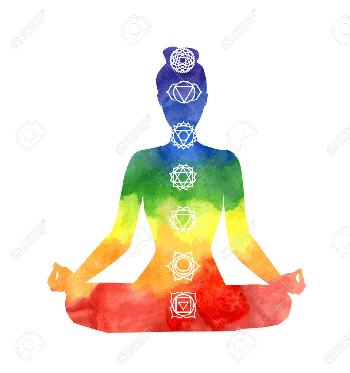 51445030-Vector-silhouette-of-yoga-woman-with-chakra-symbols-Bright-watercolor-texture-and-white-background-P-Stock-Vector